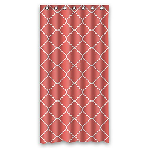 - KXMDXA Coral Quatrefoil Pattern Waterproof Polyester Bath Shower Curtain Size 36x72 Inch