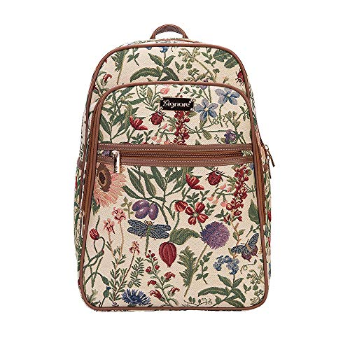 Signare Tapestry Stylish Rucksack Backpack Book Bag with Front Pocket in Morning Garden (BKPK-MGD)