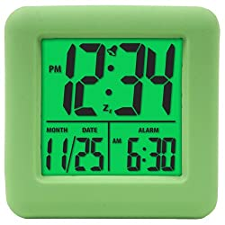 Equity by La Crosse 70903 Soft Green Cube LCD Alarm Clock,