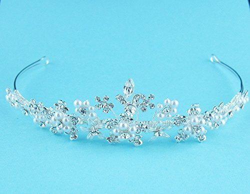 Kira Swarovski Crystal and Pearl Tiara by Ladorn