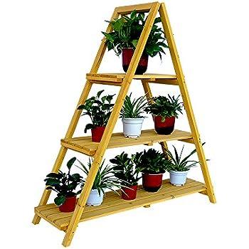 Amazon Com Wooden Ladder Plant Stand Garden Amp Outdoor