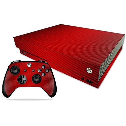Price comparison product image Skin for Xbox One X Combo - Red Carbon Fiber| MightySkins Protective, Durable, and Unique Vinyl Decal wrap cover | Easy To Apply, Remove, and Change Styles | Made in the USA