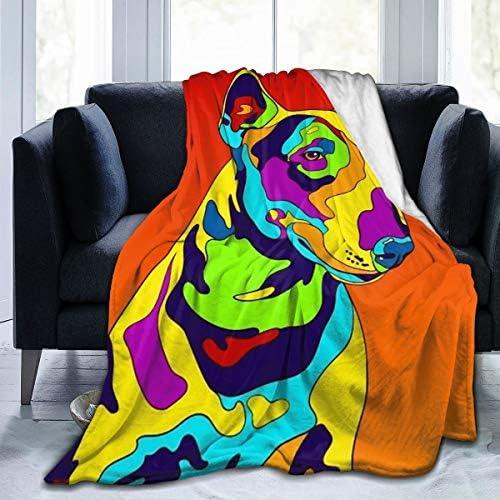 ブランケット マルチカラーブルテリア犬 毛布 フランネル ブランケット 柔軟軽量発熱 吸湿/静電気防止/洗える 軽量 抗菌防臭 防ダニ加工