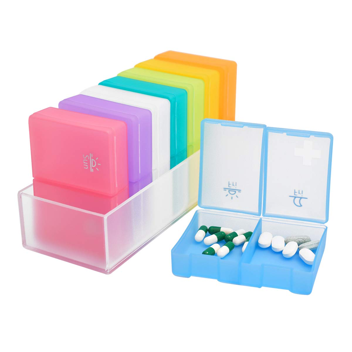 Large Pill Organizer, 7 Day Weekly Pill Box (2 Times a Day) BPA Free Travel Case to Hold Vitamins,Pills,Fish Oil, Supplements and Medication by Hiquaty
