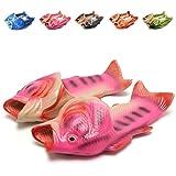 EQUICK Unisex Anti Skid Fish Slippers Beach slip on Open Toe Slide Animal Sandals For Women Men Kids Pink 35