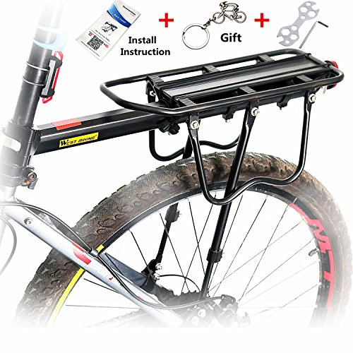West Biking 110 Lb Capacity Almost Universal Adjustable Bike Cargo Rack Cycling Equipment Stand Footstock Bicycle Luggage Carrier Racks with Reflective Logo (Bicycle Basket Rear)
