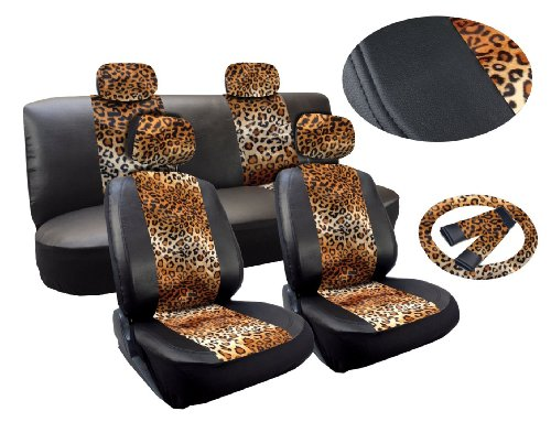 Tan Leopard Deluxe Leatherette 13pc Full Car Seat Cover Set Premium Synthetic Leather Double Stitched - Low Back Front Bucket Seats - Rear Bench - Steering Wheel Set - 4 - Print Cheetah Cat