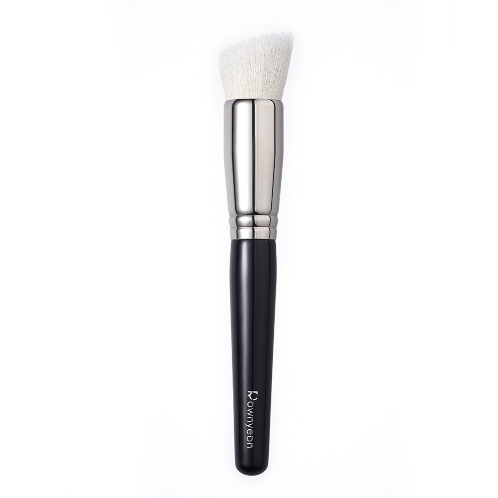 Rownyeon Foundation Makeup Brush Flat Top Kabuki for Face - Perfect For Blending Liquid, Cream or Flawless Powder Cosmetics - Premium goat wool and synthetic fibers