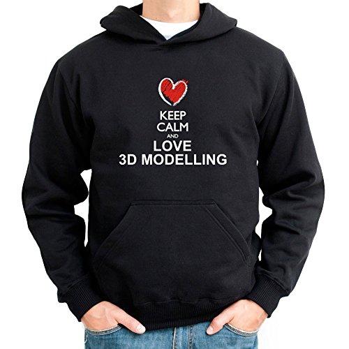 Idakoos Keep calm and love 3D Modelling chalk style - Ocio - Sudadera capucha
