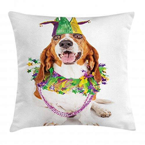 Ambesonne Mardi Gras Throw Pillow Cushion Cover, Happy Smiling Basset Hound Dog Wearing a Jester Hat Neck Garland Bead Necklace, Decorative Square Accent Pillow Case, 18