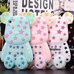 GONGXI- 3D lindo patrón de color Pentagram Bears Diseñado Caso suave del silicio para el iPhone 4/4S (colores surtidos) , Rosa