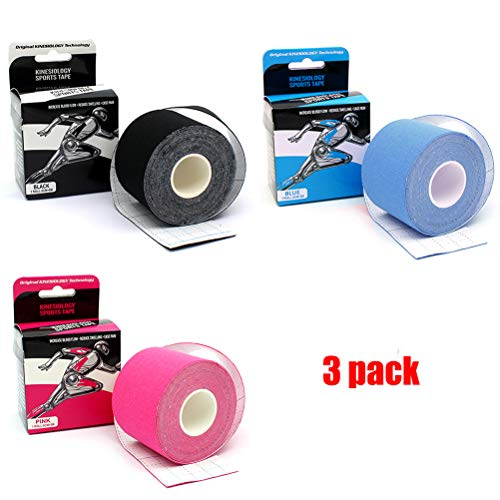 GIANCOMICS 3pcs Kinesiology Tape 1.9''x 197'' Uncut Sports Tape Set - Support for Athletes, Recovery, Therapeutic Reduce Pain and Injury Waterproof Sweatproof Medical Muscle Support Tape (3 Color Set) by GIANCOMICS