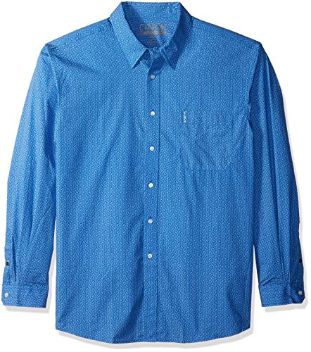 Cinch Men's Modern Fit Long Sleeve Button One Open Pocket Print Shirt, Blue, XL