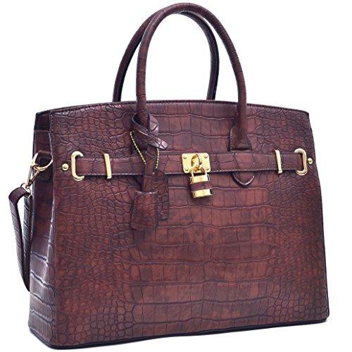 Dasein Leather Structured Briefcase Shoulder