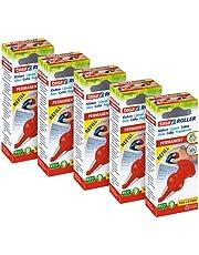tesa Lijmroller Permanent ecoLogo Roller en Navulcassette - Set van 5 Pack - Ergonomisch ontworpen lijmstift - Lijmstick navulbaar dankzij het tesa rollersysteem
