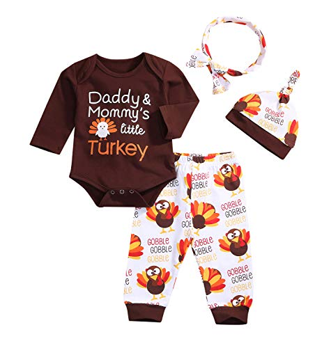 Baby Boy Girl Thanksgiving Outfit Letters Print Bodysuit+Turkey Pants and Hat Headband Clothes Set (Brown, 3-6 Months)