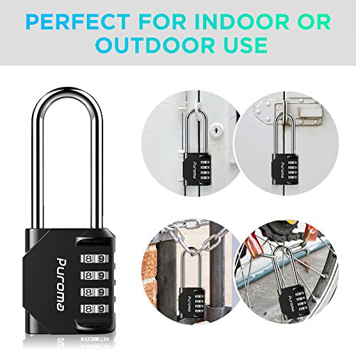 Puroma 2 Pack 2.6 Inch Long Shackle Combination Lock 4 Digit Outdoor Waterproof Padlock for School Gym Locker, Sports Locker, Fence, Gate, Toolbox, Case, Hasp Storage (Black)