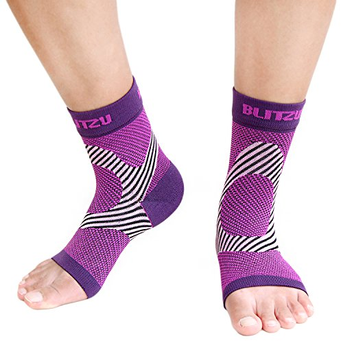 Ankle Brace Support Foot Sleeves Plantar Fasciitis Medical Compression Socks for Men Women Arch, Heel, Achilles, Fast Relief Recovery from Swelling & Foot Pain, Best for Running & Sports S/M Purple