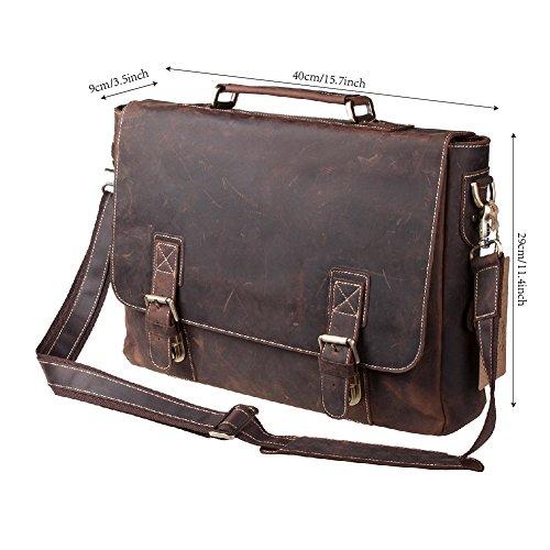 """S-ZONE Handmade Vintage Crazy Horse Leather 15.6"""" Laptop Briefcase Messenger Bag Shoulder Satchel Bag by S-ZONE (Image #6)"""