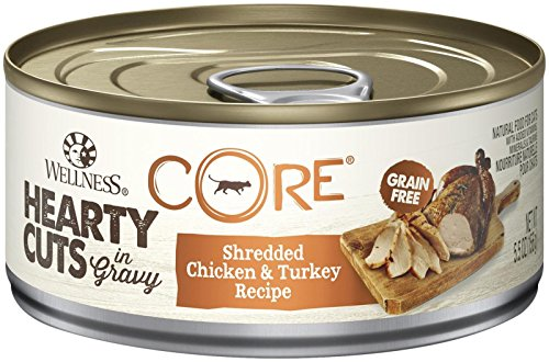- Wellness Core Hearty Cuts Natural Canned Grain Free Wet Cat Food, Chicken & Turkey, 5.5-Ounce Can (Pack Of 24)