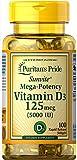 Puritans Pride Vitamin D3 Mega Potency 5000 Iu, 100 Softgels