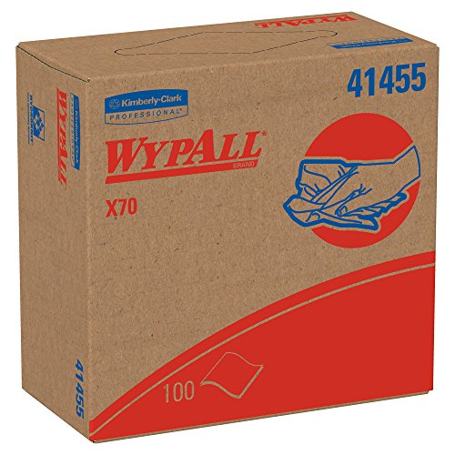 (WypAll X70 Extended Use Reusable Cloths (41455), POP-UP Box, Long Lasting Performance, White (Box of 100 wipers))