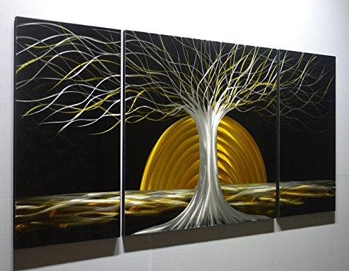 "www.TinyBathrooms.com MWA14 Winter Sunset 1-24"" X 48"" Tree Autumn Modern Aluminum Metal 3D Wall Art Painting 3 Panel Pieces -  AWA14"
