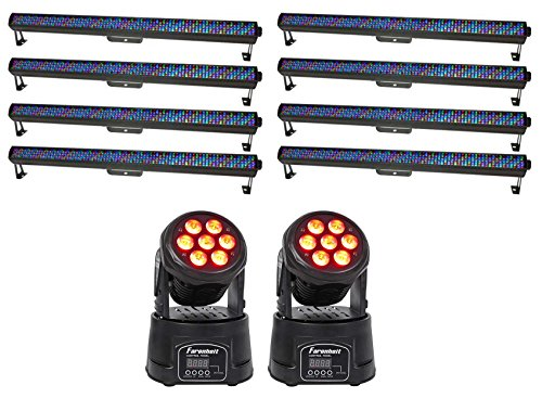 "8) Chauvet DJ COLORrail IRC 43.6"" Wireless RGB Wash Light Strips+2) Moving Heads by Chauvet"