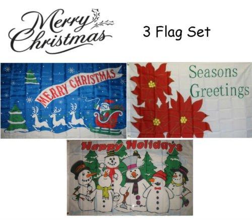 Decorations Christmas Wholesale (Moon Knives 3x5 Merry Christmas 3 Flag Wholesale Set #4 3x5 House Banner Grommets - Party Decorations Supplies For Parades - Prime Outside, Garden, Men Cave Decor Flag)