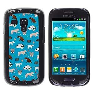 For Samsung Galaxy S3 MINI 8190 - Cute Dogs Pattern Frenchie Dalmatian /Modelo de la piel protectora de la cubierta del caso/ - Super Marley Shop -