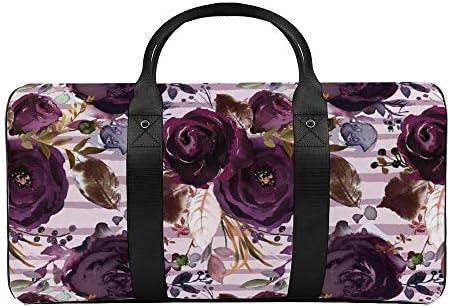 薄紫色の縞模様の暗い梅の美しさ1 旅行バッグナイロンハンドバッグ大容量軽量多機能荷物ポーチフィットネスバッグユニセックス旅行ビジネス通勤旅行スーツケースポーチ収納バッグ