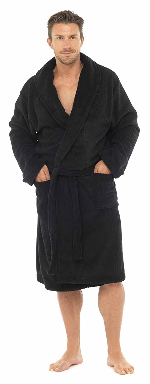 Tom Franks para Hombre Classic Textura Muy Suave Forro Polar Albornoz Bata Azul Negro Large: Amazon.es: Ropa y accesorios