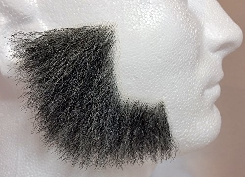 Sideburns DARK GREY - 100% Human Hair - no. 2019 - REALISTIC! Perfect for Theater - Reusable! ()