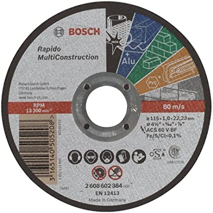 Bosch 2 608 602 384 - Disco de corte recto Rapido Multi Construction - ACS 60 V BF, 115 mm, 1,0 mm, 80 m/s (pack de 1)