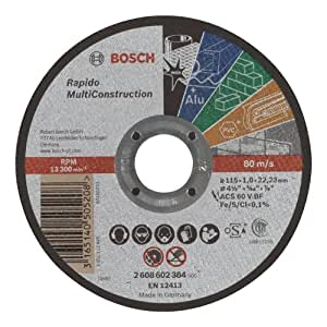 Bosch 2 608 602 384  - Disco de corte recto Rapido Multi Construction - ACS 60 V BF, 115 mm, 1,0 mm (pack de 1)