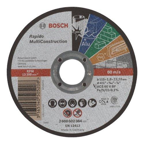 Bosch 2608602385 Disque à tronçonner à moyeu plat rapido multi construction ACS 60 V BF 125 mm 1, 0 mm
