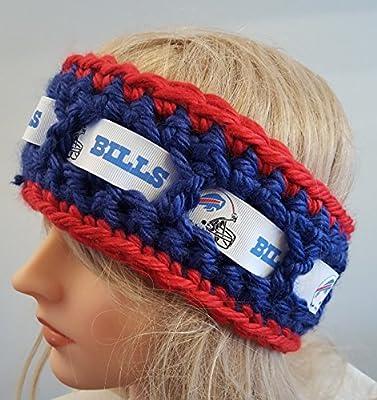 crochet Buffalo Bills Bun hat inspired Head Warmer. Ladies size. Made By Bead Gs on AMAZON.
