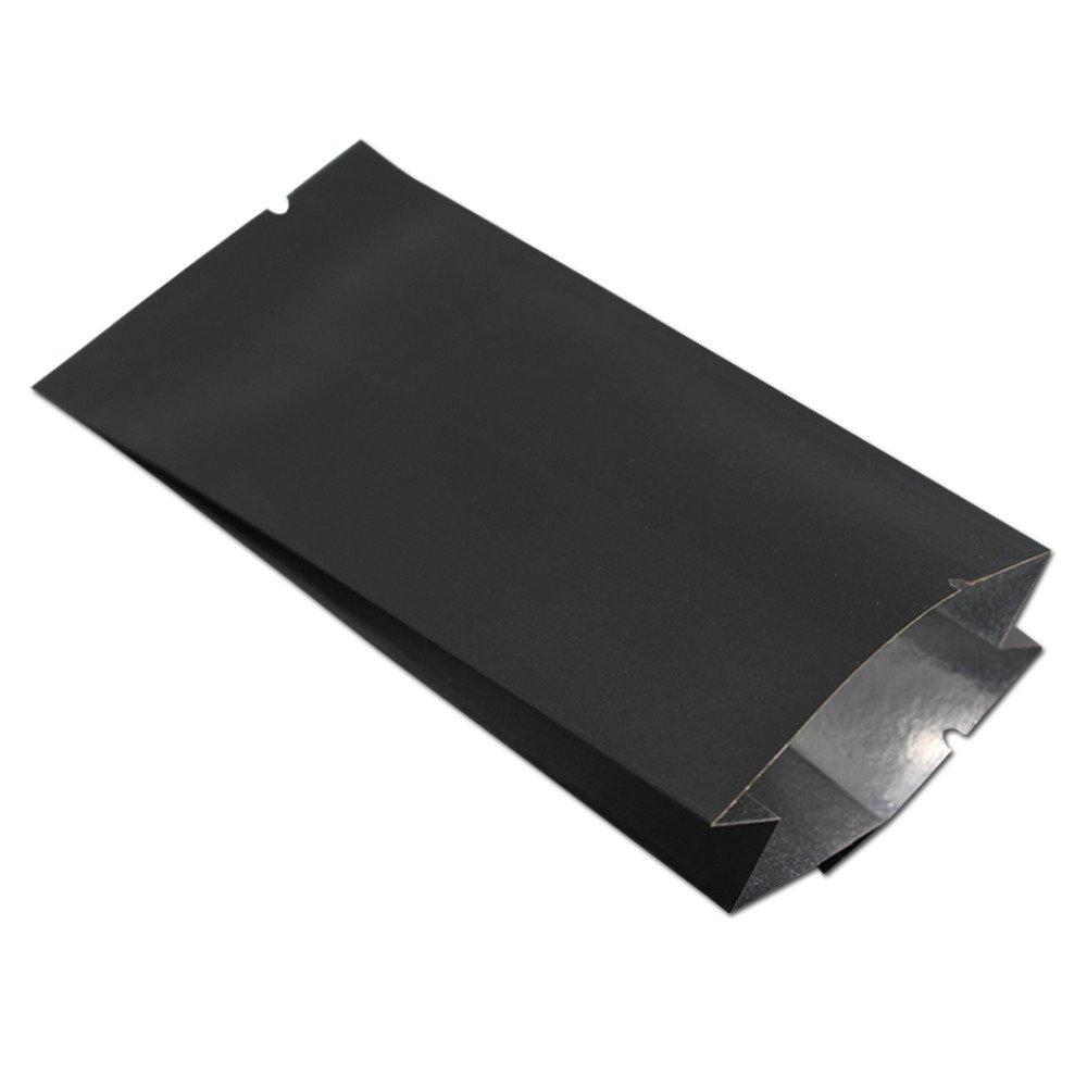 100Pcs 12x5.5x2.5cm (4.7x2.2x1 inch) Various Colors Open Top Kraft Paper Aluminum Foil Side Gusset Bag Heat Seal Tear Notch Food Storage Packaging Pouch (Black)