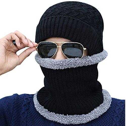 Sombreros Bufanda Hombre Negro Invierno Calentar Punto collar de Gorro Gorras BOZEVON Beanie con PxIqYwU
