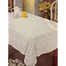 "Nappe Embosed Lace Look Vinyl Table Cloth (60"" x 90"")"