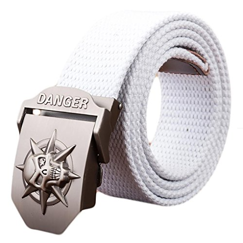 - Ayli Men's Gothic Skull Tactical Canvas Web Belt, Metal Buckle, White, Fits All Pant Sizes Below 40