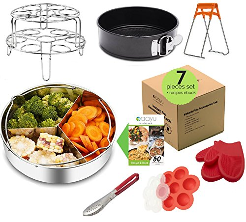 Premium Instant Pot Accessories Set – 7 Pieces Value Pack – Fits 5, 6, 8 QT InstantPot. Steamer Basket, Springform Pan, Egg Rack, Silicone Egg Bites Mold, Bowl Clip, Tong and Silicone Gloves