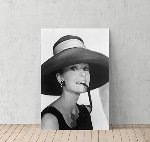 Audrey Hepburn Breakfast at Tiffany`s Sunglasses Canvas Print Decorative Art Modern Wall Décor Artwork Wrapped Wood Stretcher Bars - Ready to Hang - %100 Handmade in the - Sunglasses Breakfast At Tiffany