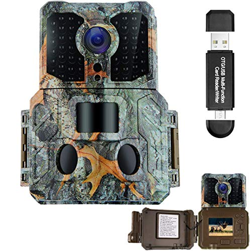 MACTREM Trail Camera with Night Vision Motion Activated 48pcs 850NM IR LEDs,1080P 16MP Wildlife Hunting Game Cam,3 Trigger Sensors 0.2s Trigger Speed 130°PIR Sensor Angle 2.0″ LCD Display IP65 (A)