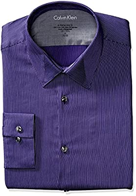 Calvin Klein Men's Stretch Xtreme Slim Fit Stripe Point Collar Dress Shirt