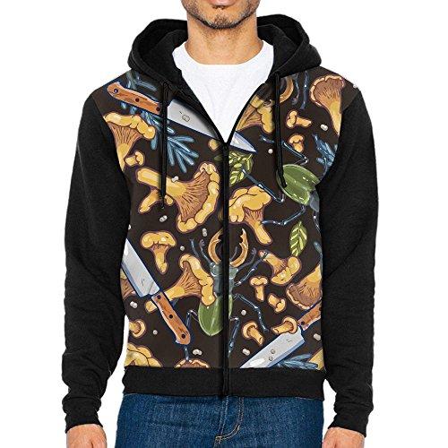 HenSLK Men's fungus Mushroom Knife Casual Pocket Sweatshirt Full-Zip Hoodie Crew Hooded Shirts Athletic Sportwear