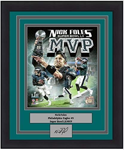 """Eagles Super Bowl 52 Nick Foles MVP Collage 8"""" x 10"""" Framed and Matted Football Photo with Engraved Autograph"""
