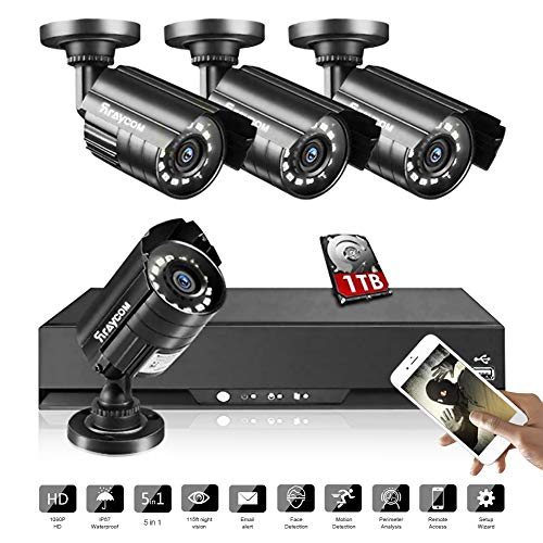 Rraycom 8CH Security Surveillance System HD-TVI 2MP Lite 5 in1 DVR with (4) 1080P IP67 Weatherproof Bullet Cameras for Outdoor,115ft Night Vision,1TB HDD,Support IP Cameras,Motion Alert, Remote Access
