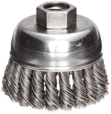 "Weiler Wire Cup Brush, Threaded Hole, Steel, Partial Twist Knotted, Single Row, 2-3/4"" Diameter, 0.02"" Wire Diameter, 5/8""-11 Arbor, 1"" Bristle Length, 14000 rpm (Pack of 1)"
