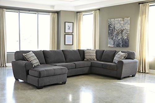 Ashley Furniture Signature Design - Sorenton Contemporary 3-Piece Sectional - Left Arm Facing Corner Chaise, Armless Loveseat, & Right Arm Facing Sofa - Slate Gray (Sofa Corner Right Facing)
